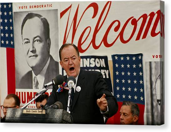 Democratic Politicians Canvas Print - Hubert Humphrey by Jack Rosen
