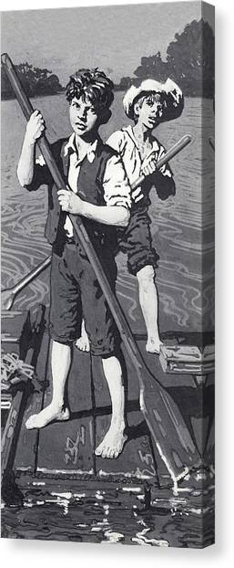 English And Literature Canvas Print - Huckleberry Finn And Tom Sawyer  by English School