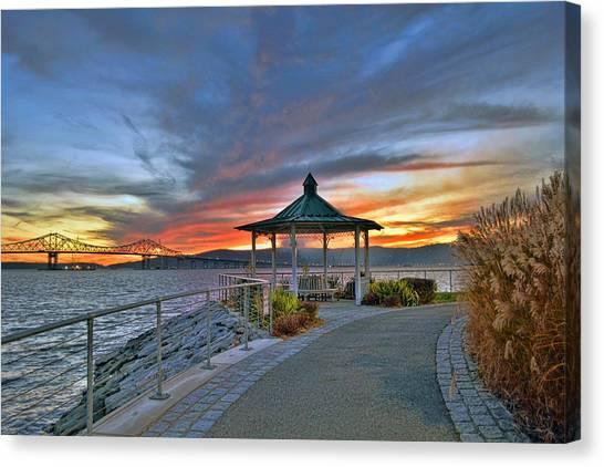 Hudson River Fiery Sky Canvas Print