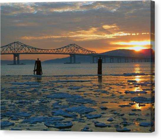 Hudson River Icey Sunset Canvas Print