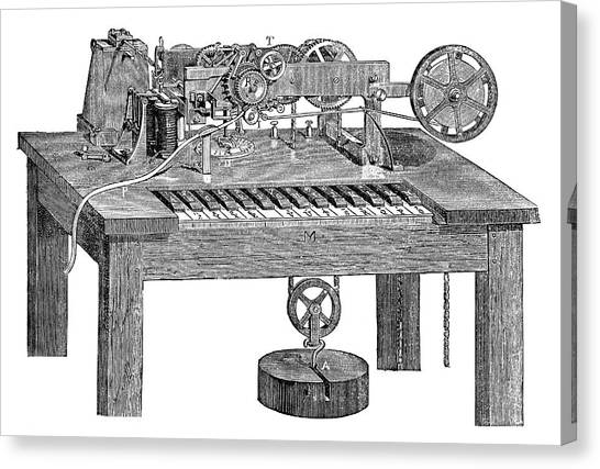 Printers Canvas Print - Hughes's Printing Telegraph by Science Photo Library
