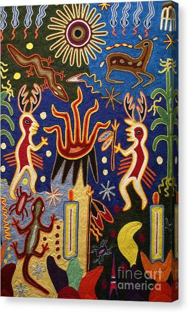 Huichol Yarn Painting Mexico Canvas Print