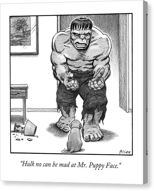 Hulk No Can Be Mad At Mr. Puppy Face Canvas Print