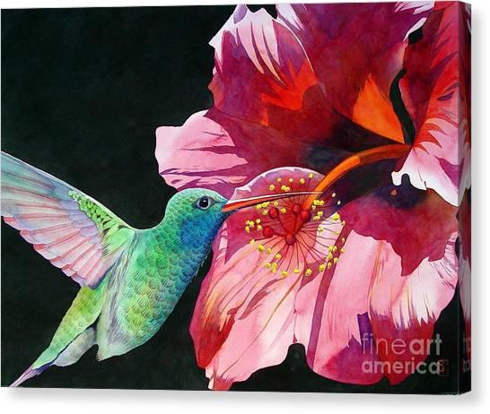 Hibiscus Canvas Print - Hummingbird And Hibiscus by Robert Hooper