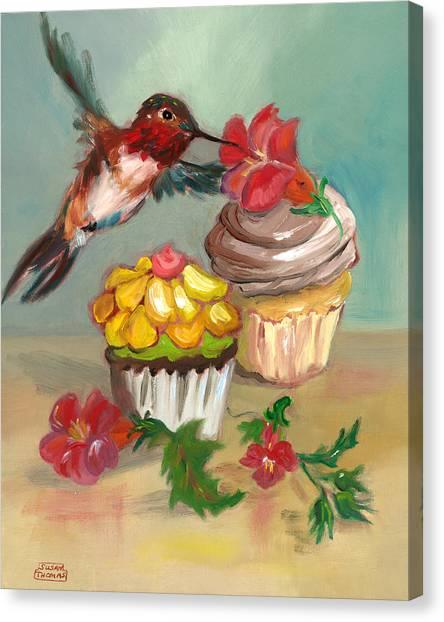 hummingbird with 2 Cupcakes Canvas Print