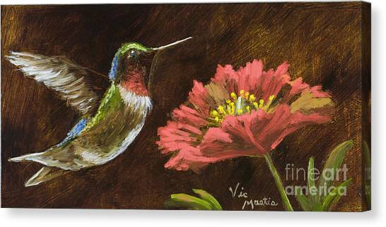 Hummingbird With Gold Leaf By Vic Mastis Canvas Print