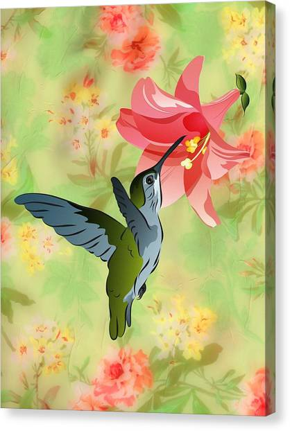 Hummingbird With Pink Lily Against Floral Fabric Canvas Print