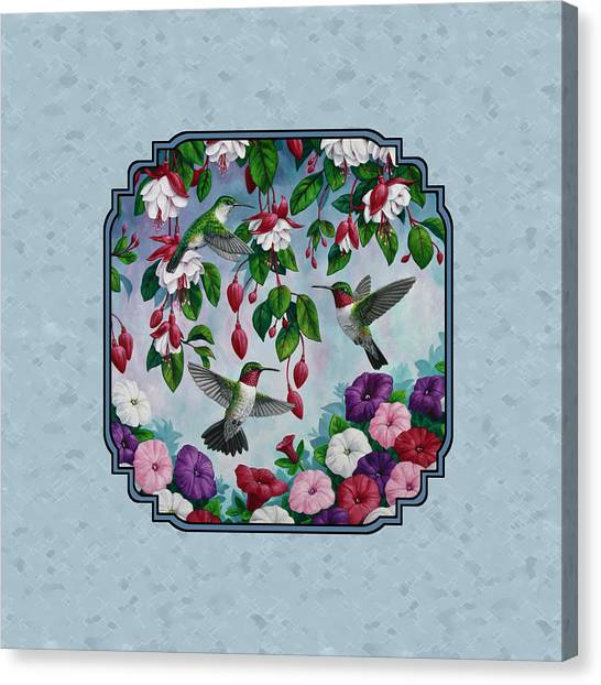 Fuschia Canvas Print - Hummingbirds And Flowers Cyan Pillow And Duvet Cover by Crista Forest