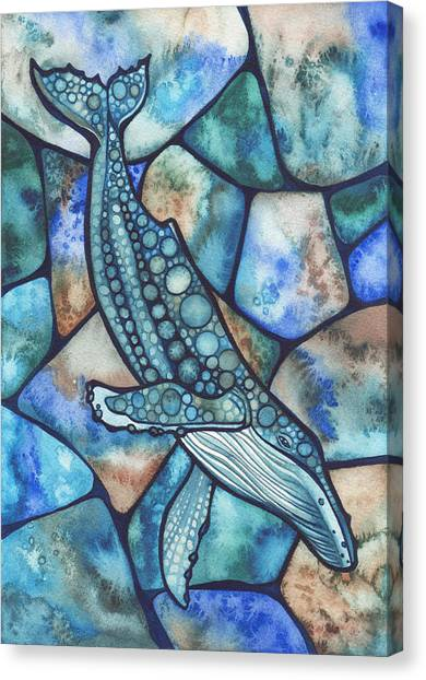 Ocean Animals Canvas Print - Humpback Whale by Tamara Phillips