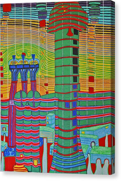 Hundertwasser Das Ende Griechenlands In 3d By J.j.b. Canvas Print