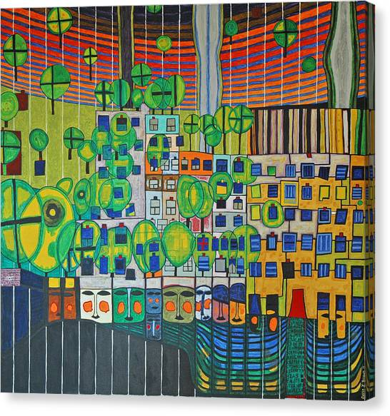 Hundertwasser The Three Skins In 3d By J.j.b. Canvas Print
