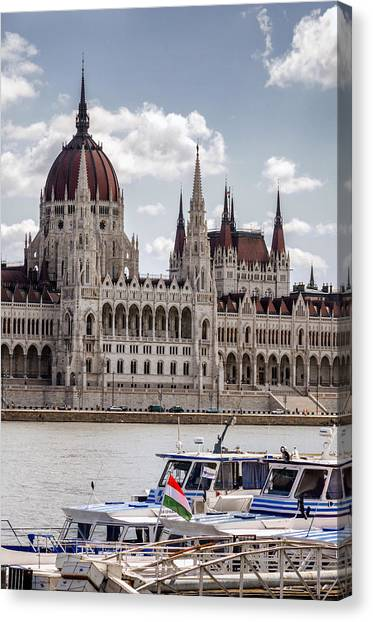 Hungarian Parliament Across The Danube Canvas Print