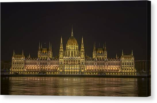 Danube Canvas Print - Hungarian Parliament Building Night by Joan Carroll