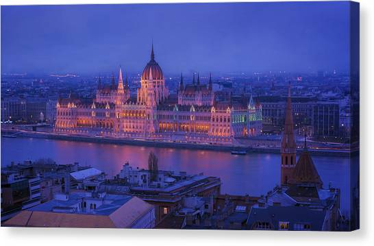 Danube Canvas Print - Hungarian Parliament First Evening Light by Joan Carroll