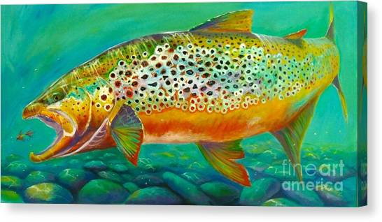 Fly Fishing Canvas Print - Hungry Spots by Yusniel Santos