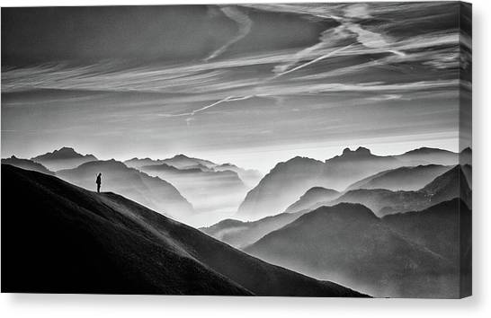 Hunting Canvas Print - Hunter In The Fog Bw by Vito Guarino