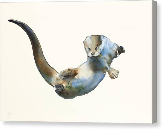 Otters Canvas Print - Hunter by Mark Adlington