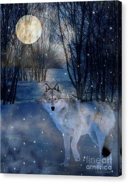 Wolf Moon Canvas Print - Hunter's Moon by Judy Wood