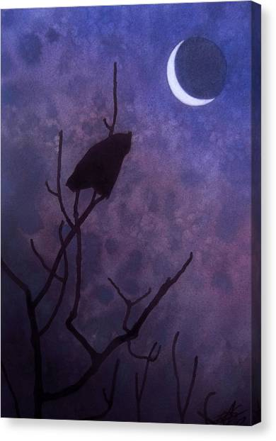 Hunting Moon II Or Great Horned Owl Canvas Print