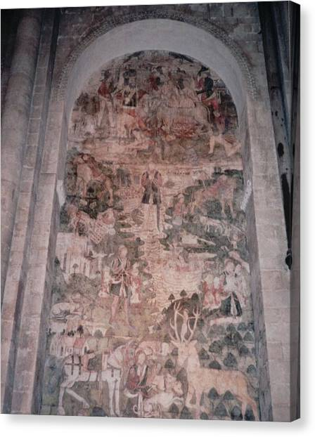 Knights Canvas Print - Hunting Mural Canterbury Cathedral by Lisa Travis
