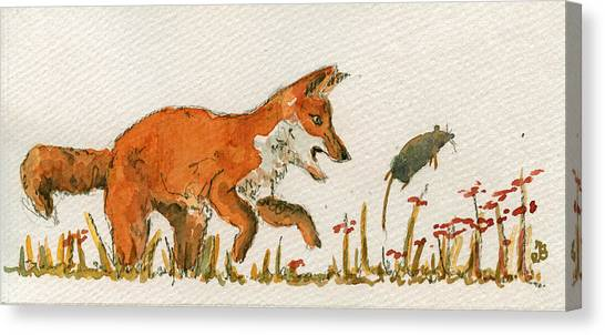 Mice Canvas Print - Hunting Red Baby Fox by Juan  Bosco