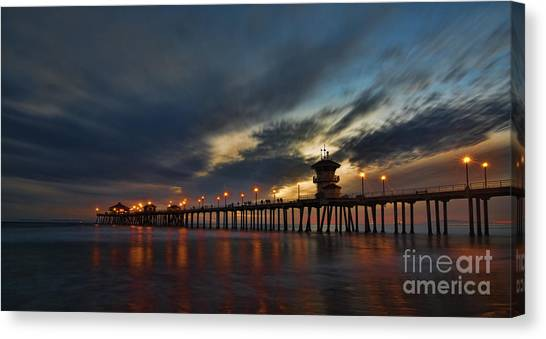 Huntington Beach At Night Canvas Print