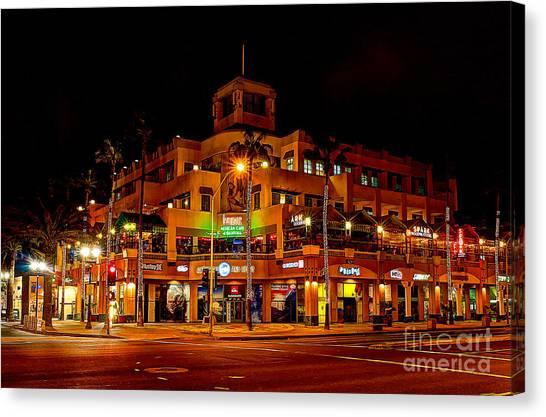 Huntington Beach Downtown Nightside 1 Canvas Print