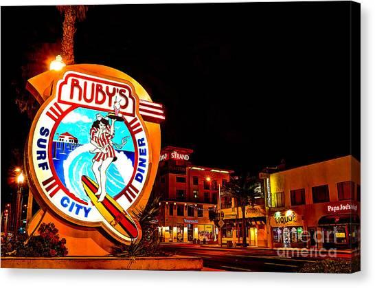 Huntington Beach Downtown Nightside 2 Canvas Print