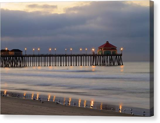 Huntington Beach Pier Morning Lights Canvas Print