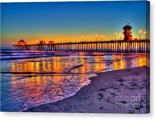 Sundown Canvas Print - Huntington Beach Pier Sundown by Jim Carrell