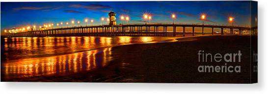 Huntington Beach Pier Twilight Panoramic Canvas Print
