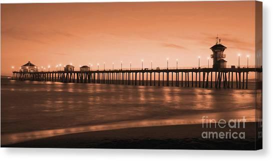 Huntington Beach Pier - Twilight Sepia Canvas Print