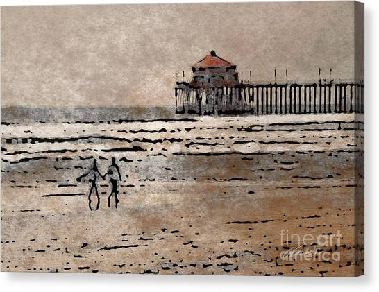 Huntington Beach Surfers Canvas Print