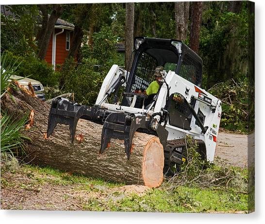Hurricane Irma Damage, Bobcat Tractor Canvas Print by Millard H. Sharp