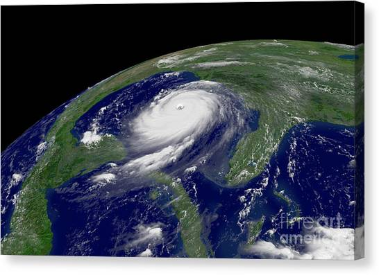 Satellite Canvas Print - Hurricane Katrina by Jon Neidert