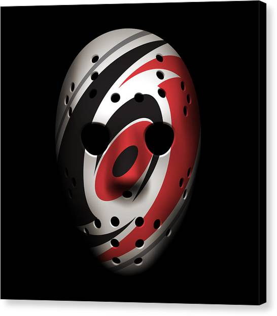 Carolina Hurricanes Canvas Print - Hurricanes Goalie Mask by Joe Hamilton