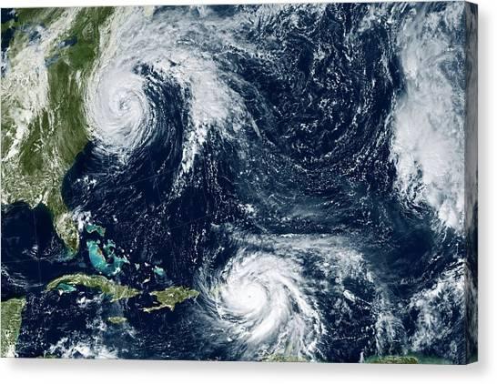 Cyclones Canvas Print - Hurricanes Maria And Jose by Nasa Earth Observatory/joshua Stevens/nasa-noaa Goes/science Photo Library