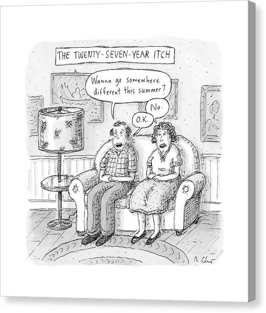 Husband And Wife Discuss Summer Plans On A Couch Canvas Print