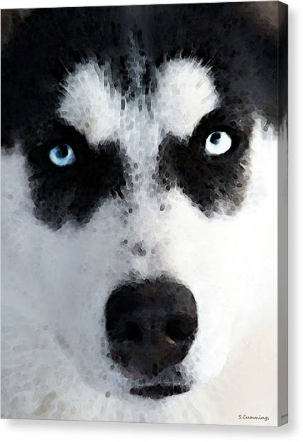 Aac Canvas Print - Husky Dog Art - Bat Man by Sharon Cummings