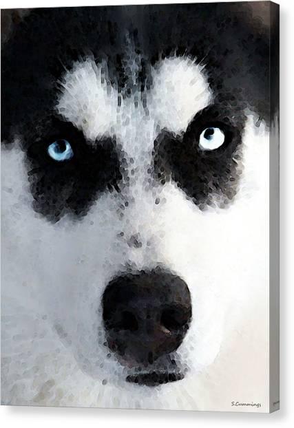 University Of Connecticut Canvas Print - Husky Dog Art - Bat Man by Sharon Cummings