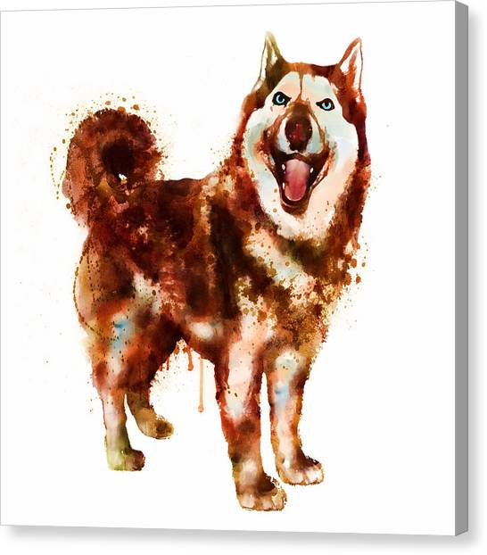 Huskies Canvas Print - Husky Dog Watercolor by Marian Voicu