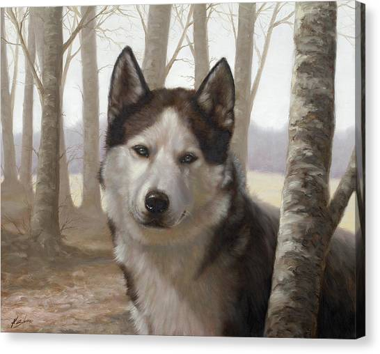 Husky In The Woods Canvas Print