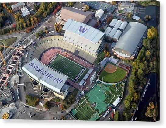 University Of Washington Canvas Print - Husky Stadium by Georgia Fowler