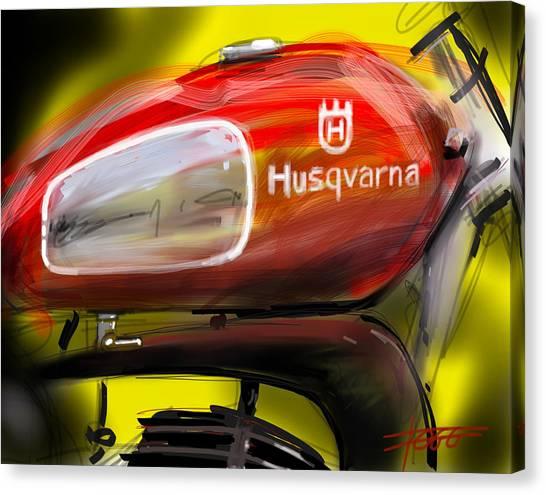 Dirt Bikes Canvas Print - Husqvarna by Peter Fogg