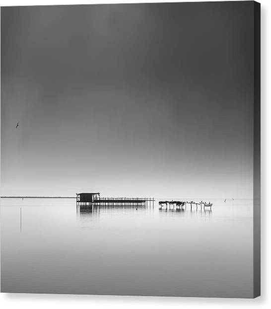 Hut In The Mist Canvas Print by George Digalakis