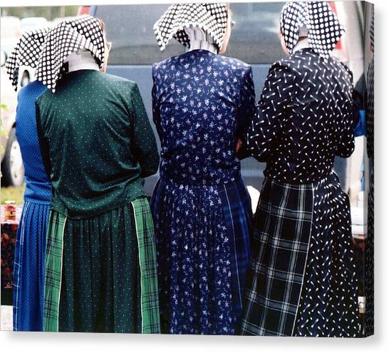 Hutterite Women At The Market Canvas Print