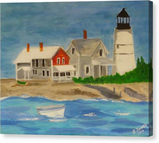 Hyannis Lighthouse Canvas Print by Sally Jones