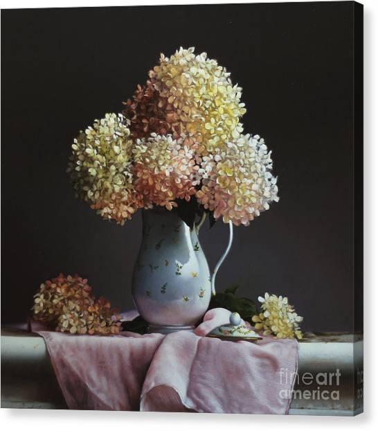 Tea Pot Canvas Print - Hydrangea by Lawrence Preston