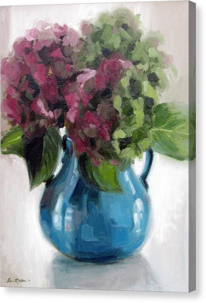 Hydrangeas In Blue Vase Canvas Print