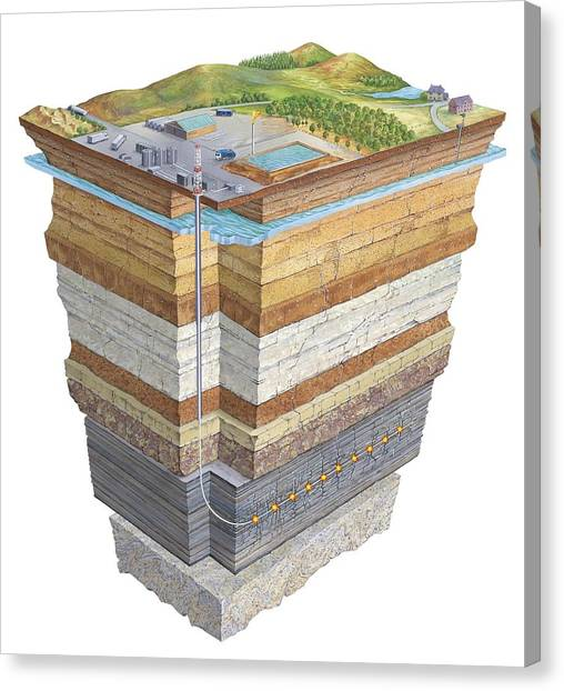 Fracking Canvas Print - Hydraulic Fracturing, Artwork by Science Photo Library